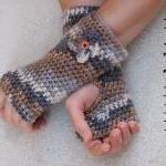 Fingerless gloves with Flower , Cro..