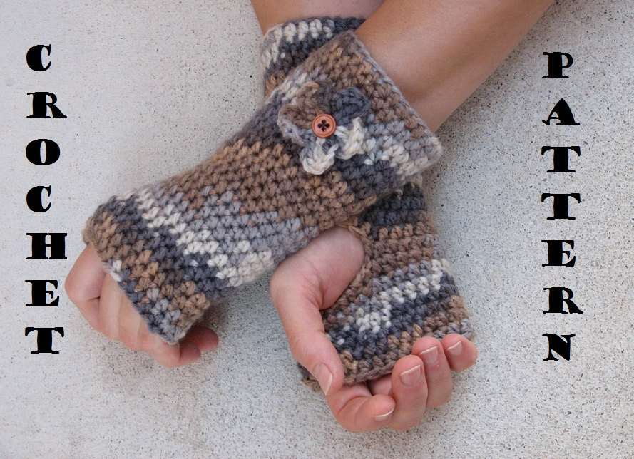 Fingerless Gloves With Flower Crochet Pattern Pdfeasy Great For