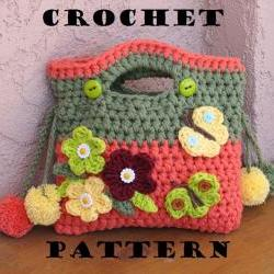 Girls Bag / Purse with Flowers Butterfly and Pom Pom, Crochet Pattern PDF,Easy, Great for Beginners, Pattern No. 9