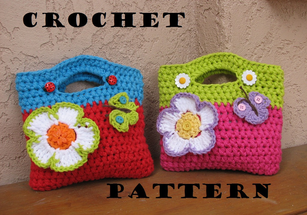 Girls Bag Purse With Large Flower And Butterfly Crochet Pattern
